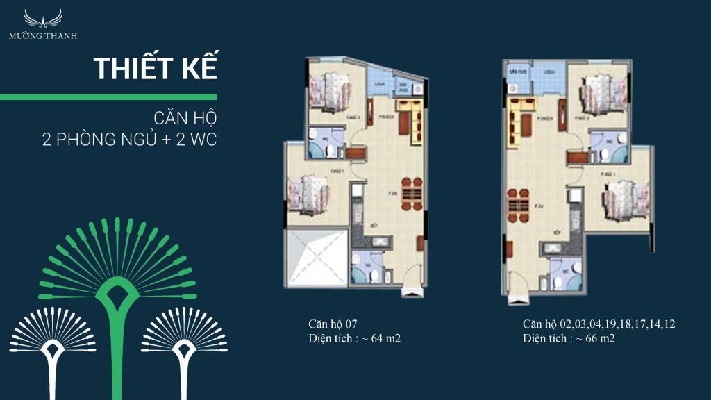 thiết kế 2 phòng ngủ 2 wc