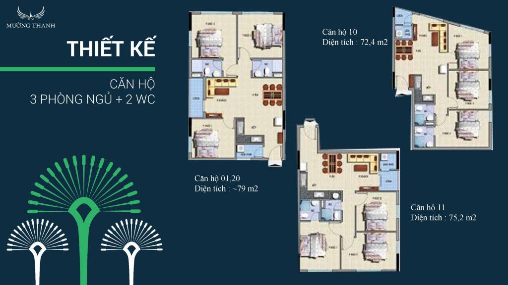 thiết kế 3 phòng ngủ 2 wc