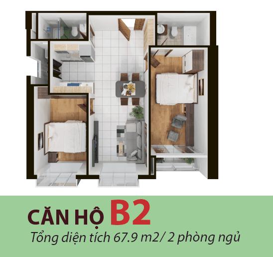 Thiết kế căn hộ 67 mét dự án Terra mia mẫu B2