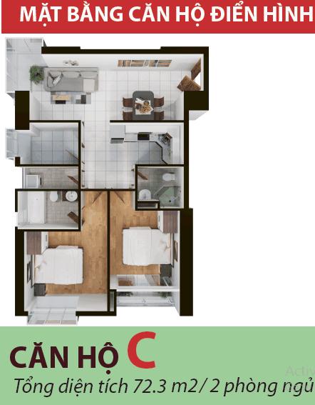 Thiết kế căn hộ 72 mét dự án Terra mia