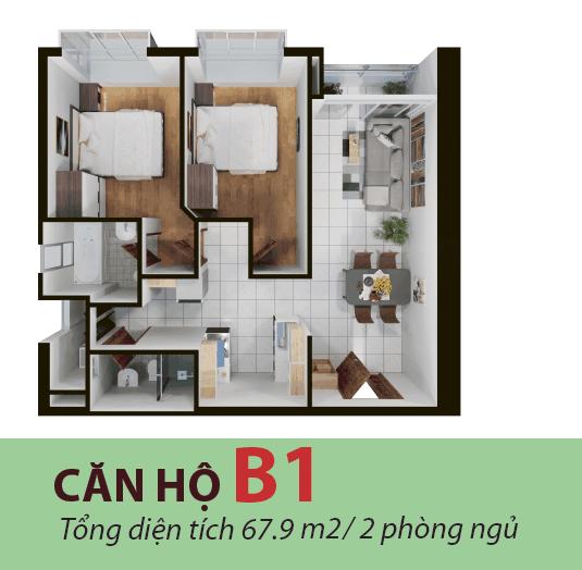 Thiết kế căn hộ 67 mét dự án Terra mia